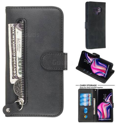 Retro Luxury Zipper Leather Phone Wallet Case for Samsung Galaxy Note9 - Black