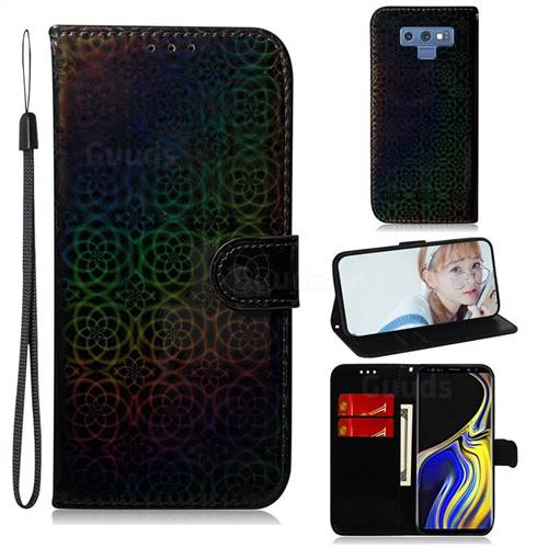 Laser Circle Shining Leather Wallet Phone Case for Samsung Galaxy Note9 - Black
