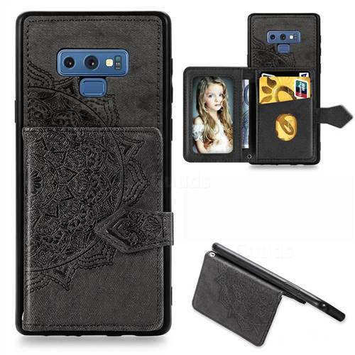 Mandala Flower Cloth Multifunction Stand Card Leather Phone Case for Samsung Galaxy Note9 - Black