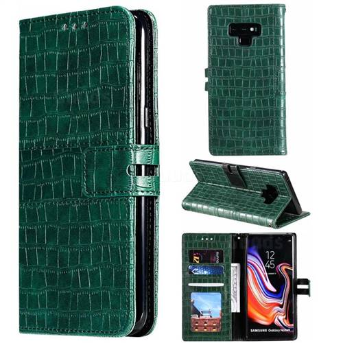 Luxury Crocodile Magnetic Leather Wallet Phone Case for Samsung Galaxy Note9 - Green