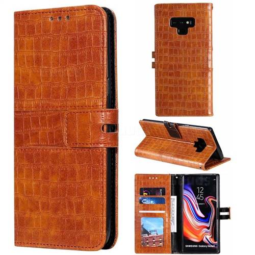 Luxury Crocodile Magnetic Leather Wallet Phone Case for Samsung Galaxy Note9 - Brown