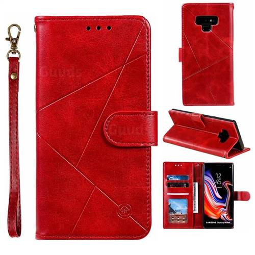 Embossing Geometric Leather Wallet Case for Samsung Galaxy Note9 - Red