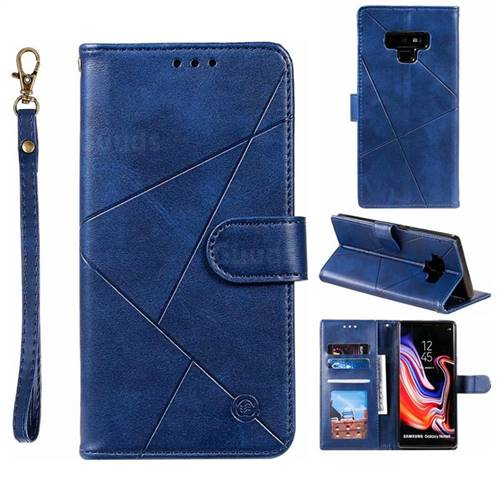 Embossing Geometric Leather Wallet Case for Samsung Galaxy Note9 - Blue