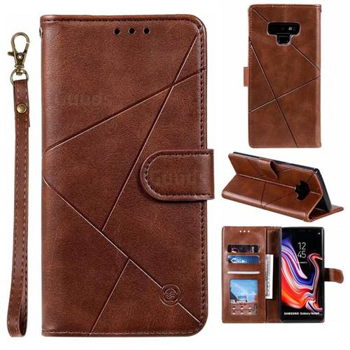 Embossing Geometric Leather Wallet Case for Samsung Galaxy Note9 - Brown