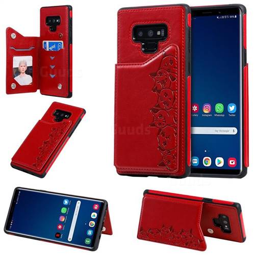 Yikatu Luxury Cute Cats Multifunction Magnetic Card Slots Stand Leather Back Cover for Samsung Galaxy Note9 - Red