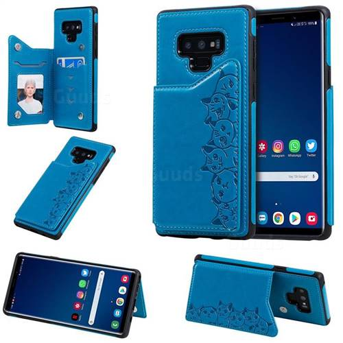 Yikatu Luxury Cute Cats Multifunction Magnetic Card Slots Stand Leather Back Cover for Samsung Galaxy Note9 - Blue
