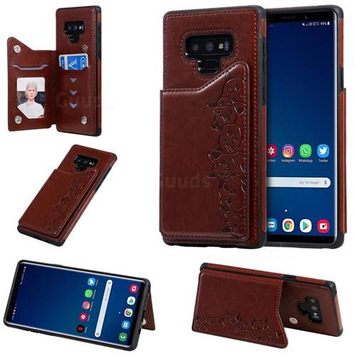 Yikatu Luxury Cute Cats Multifunction Magnetic Card Slots Stand Leather Back Cover for Samsung Galaxy Note9 - Brown