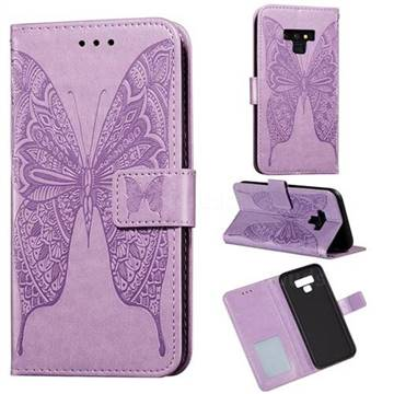 Intricate Embossing Vivid Butterfly Leather Wallet Case for Samsung Galaxy Note9 - Purple