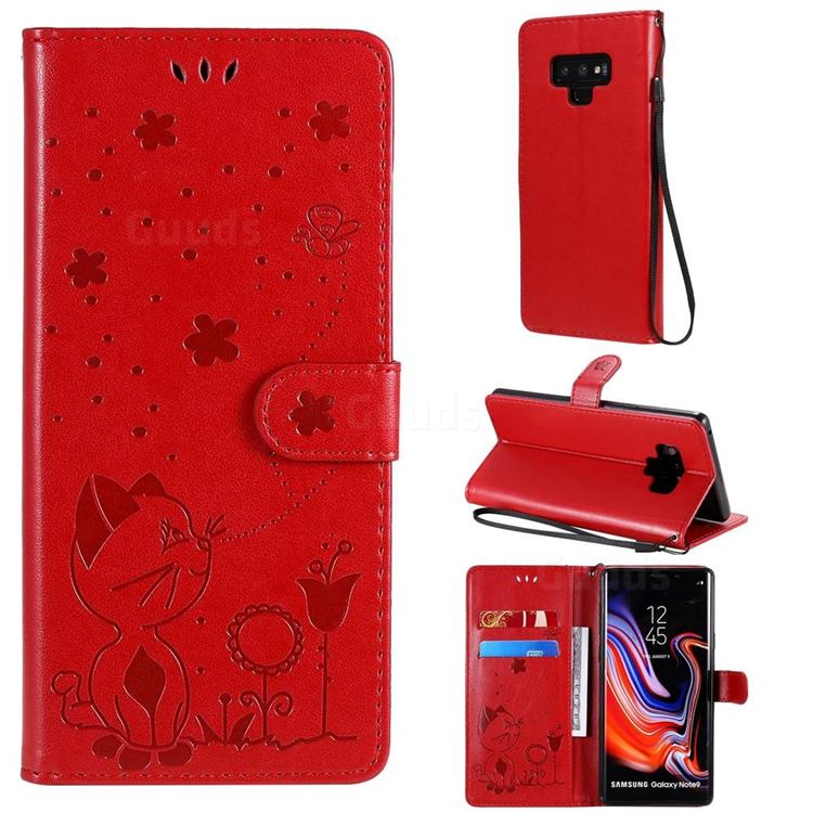 Embossing Bee and Cat Leather Wallet Case for Samsung Galaxy Note9 - Red
