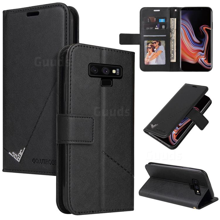 GQ.UTROBE Right Angle Silver Pendant Leather Wallet Phone Case for Samsung Galaxy Note9 - Black
