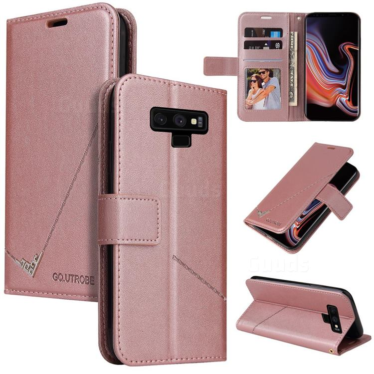 GQ.UTROBE Right Angle Silver Pendant Leather Wallet Phone Case for Samsung Galaxy Note9 - Rose Gold
