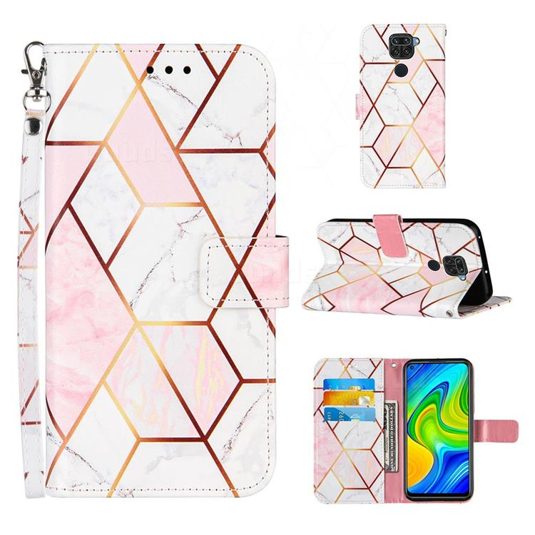 Pink White Stitching Color Marble Leather Wallet Case for Samsung Galaxy Note9