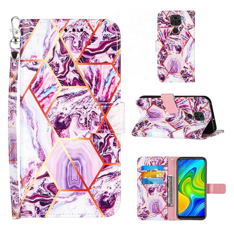 Dream Purple Stitching Color Marble Leather Wallet Case for Samsung Galaxy Note9