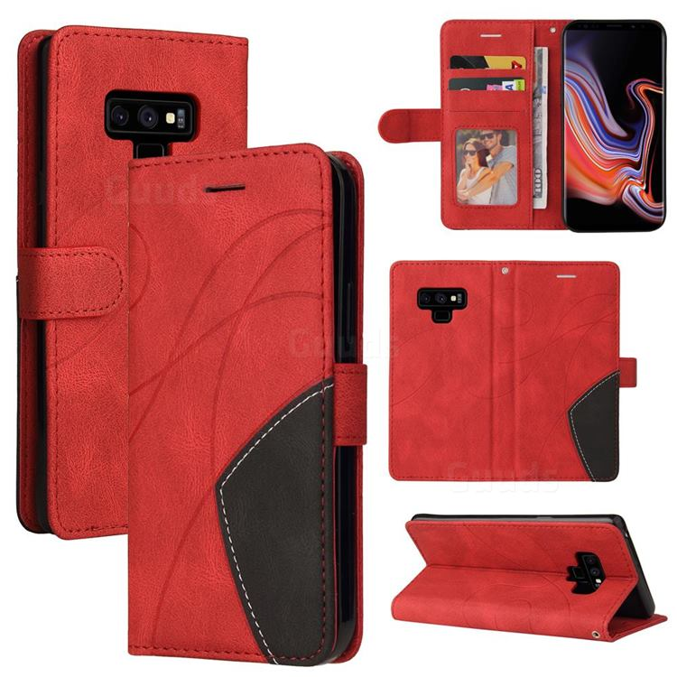 Luxury Two-color Stitching Leather Wallet Case Cover for Samsung Galaxy Note9 - Red