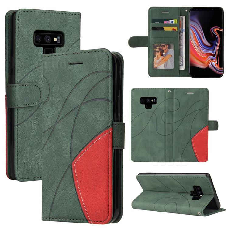 Luxury Two-color Stitching Leather Wallet Case Cover for Samsung Galaxy Note9 - Green