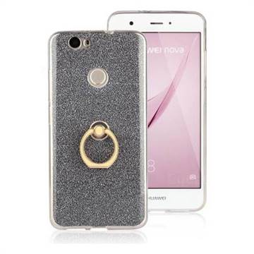 Luxury Soft TPU Glitter Back Ring Cover with 360 Rotate Finger Holder Buckle for Huawei Nova - Black