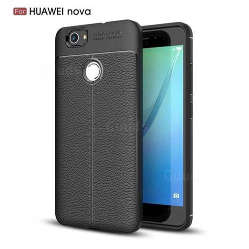 Luxury Auto Focus Litchi Texture Silicone TPU Back Cover for Huawei Nova - Black