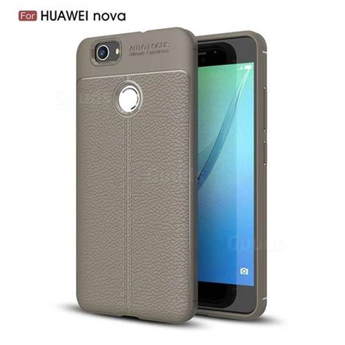 Luxury Auto Focus Litchi Texture Silicone TPU Back Cover for Huawei Nova - Gray
