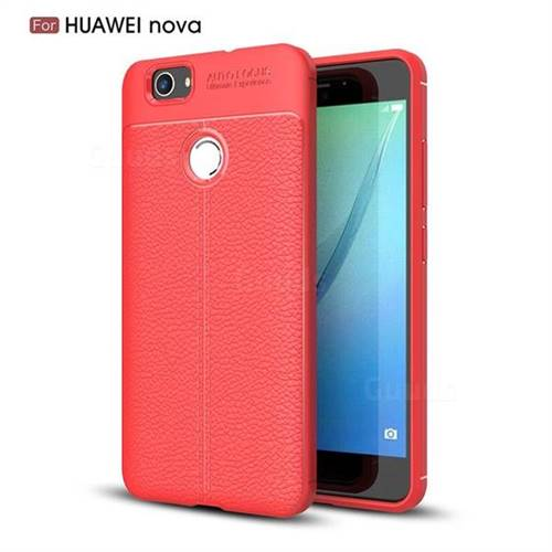 Luxury Auto Focus Litchi Texture Silicone TPU Back Cover for Huawei Nova - Red