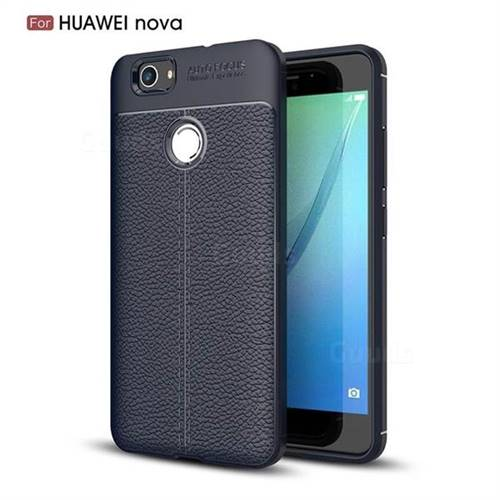 Luxury Auto Focus Litchi Texture Silicone TPU Back Cover for Huawei Nova - Dark Blue