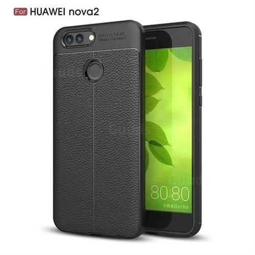 Luxury Auto Focus Litchi Texture Silicone TPU Back Cover for Huawei Nova 2 - Black