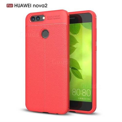 Luxury Auto Focus Litchi Texture Silicone TPU Back Cover for Huawei Nova 2 - Red
