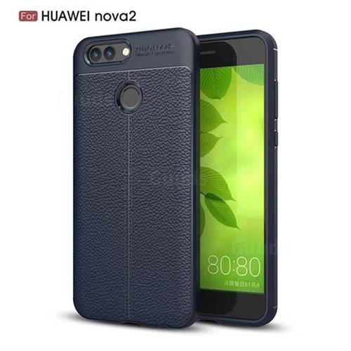 Luxury Auto Focus Litchi Texture Silicone TPU Back Cover for Huawei Nova 2 - Dark Blue