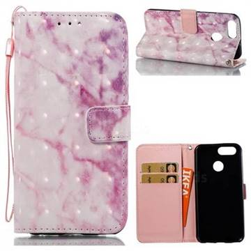 Pink Marble 3D Painted Leather Wallet Case for Huawei Nova 2