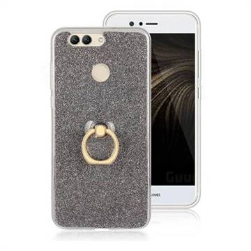 Luxury Soft TPU Glitter Back Ring Cover with 360 Rotate Finger Holder Buckle for Huawei Nova 2 Plus - Black
