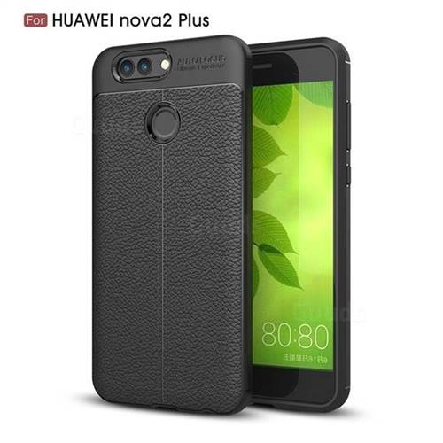 Luxury Auto Focus Litchi Texture Silicone TPU Back Cover for Huawei Nova 2 Plus - Black