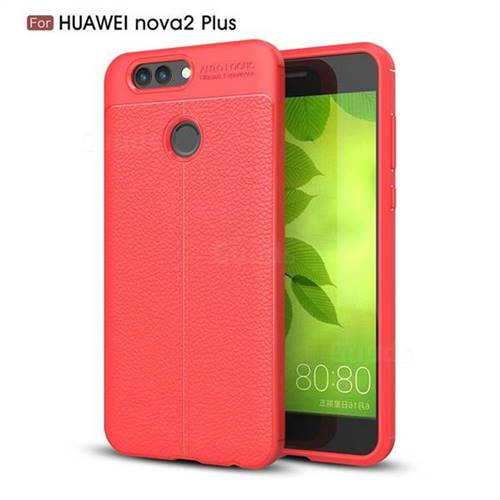 Luxury Auto Focus Litchi Texture Silicone TPU Back Cover for Huawei Nova 2 Plus - Red