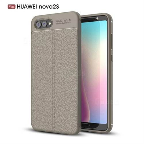 Luxury Auto Focus Litchi Texture Silicone TPU Back Cover for Huawei Nova 2s - Gray