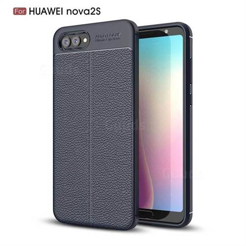 Luxury Auto Focus Litchi Texture Silicone TPU Back Cover for Huawei Nova 2s - Dark Blue