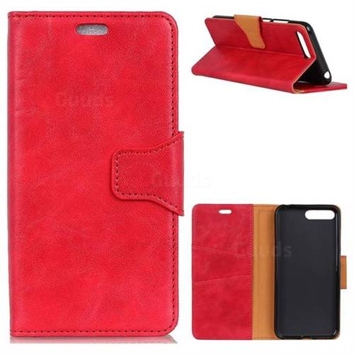 MURREN Luxury Crazy Horse PU Leather Wallet Phone Case for Huawei Nova 2s - Red