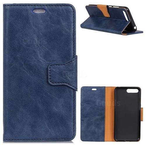 MURREN Luxury Crazy Horse PU Leather Wallet Phone Case for Huawei Nova 2s - Blue