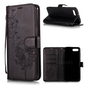 Intricate Embossing Dandelion Butterfly Leather Wallet Case for Huawei Nova 2s - Black