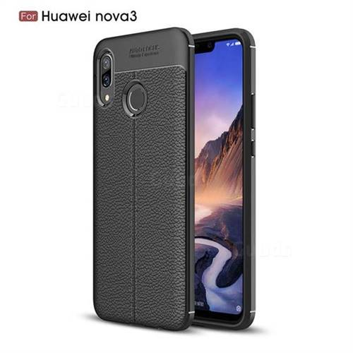 Luxury Auto Focus Litchi Texture Silicone TPU Back Cover for Huawei Nova 3 - Black