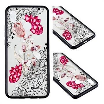 Tulip Lace Diamond Flower Soft TPU Back Cover for Huawei Nova 3