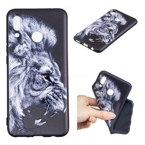 Lion 3D Embossed Relief Black TPU Cell Phone Back Cover for Huawei Nova 3