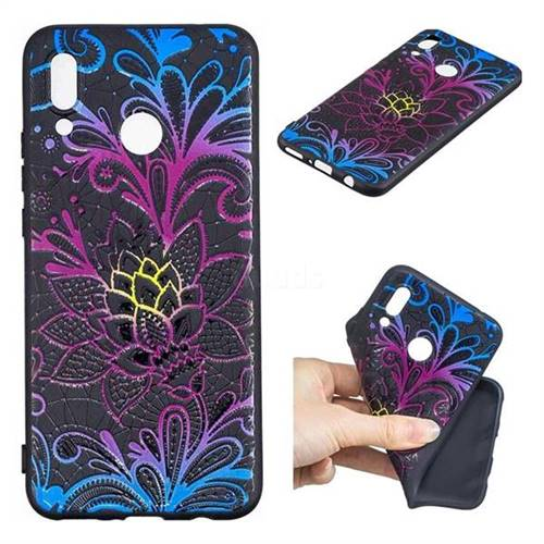Colorful Lace 3D Embossed Relief Black TPU Cell Phone Back Cover for Huawei Nova 3