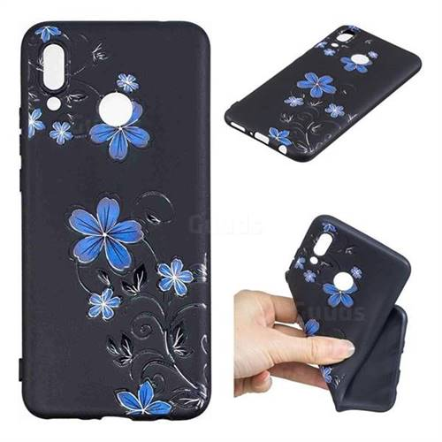 Little Blue Flowers 3D Embossed Relief Black TPU Cell Phone Back Cover for Huawei Nova 3