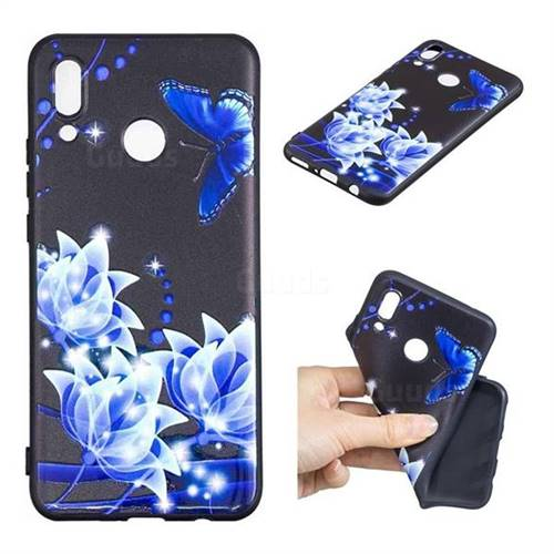 Blue Butterfly 3D Embossed Relief Black TPU Cell Phone Back Cover for Huawei Nova 3