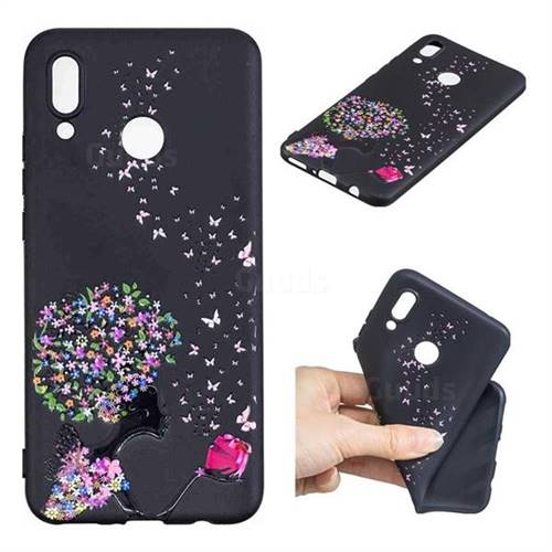 Corolla Girl 3D Embossed Relief Black TPU Cell Phone Back Cover for Huawei Nova 3