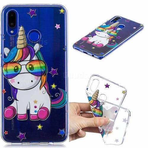 Glasses Unicorn Clear Varnish Soft Phone Back Cover for Huawei Nova 3