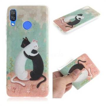 Black and White Cat IMD Soft TPU Cell Phone Back Cover for Huawei Nova 3