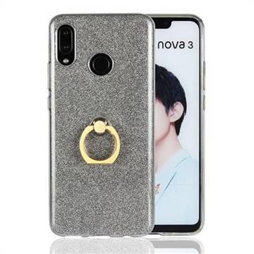 Luxury Soft TPU Glitter Back Ring Cover with 360 Rotate Finger Holder Buckle for Huawei Nova 3 - Black