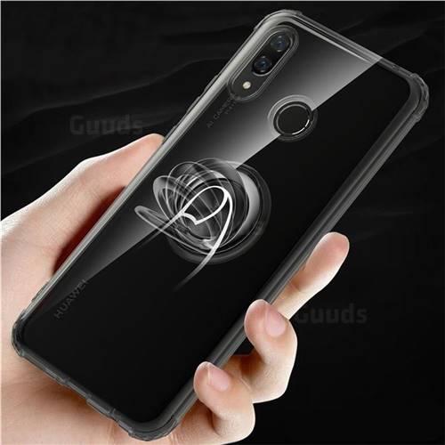 Anti-fall Invisible Press Bounce Ring Holder Phone Cover for Huawei Nova 3 - Elegant Black