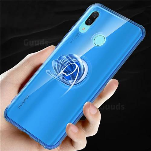 Anti-fall Invisible Press Bounce Ring Holder Phone Cover for Huawei Nova 3 - Sapphire Blue