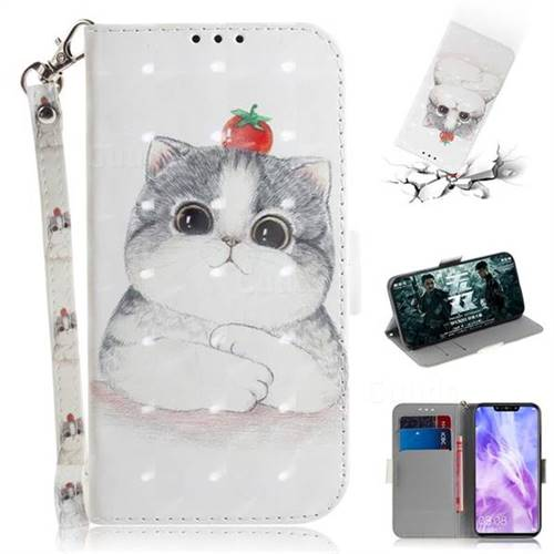 Cute Tomato Cat 3D Painted Leather Wallet Phone Case for Huawei Nova 3