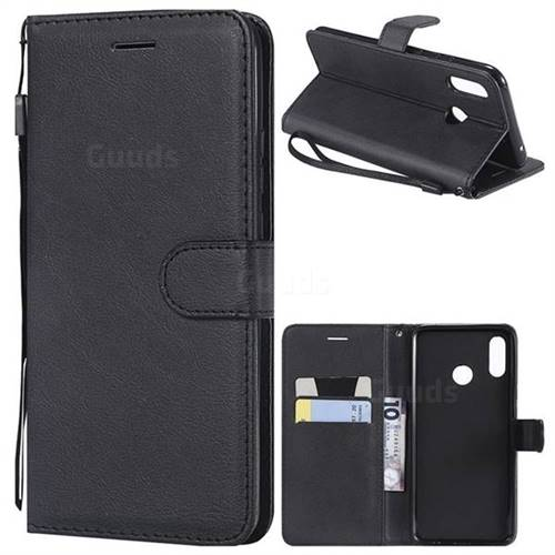Retro Greek Classic Smooth PU Leather Wallet Phone Case for Huawei Nova 3 - Black